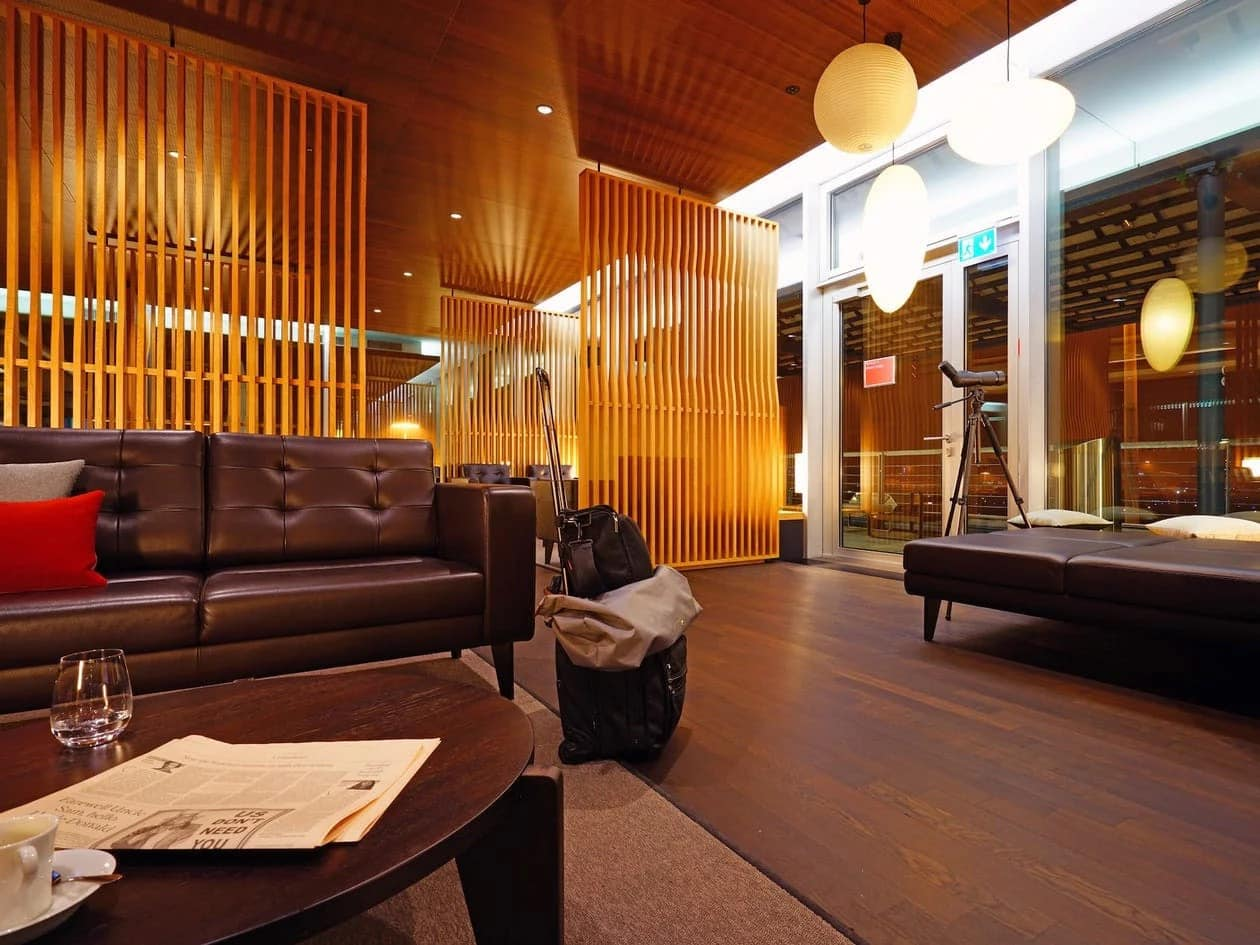 The Swiss Airlines first-class lounge at Zurich Flughafen airport.