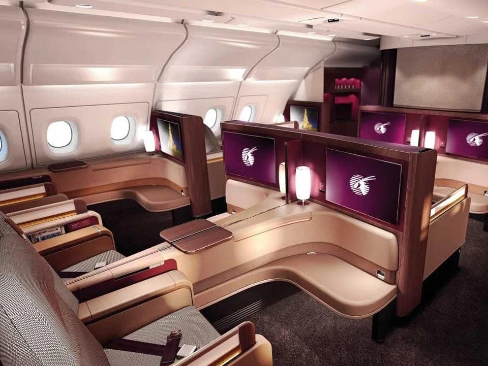 First class on Qatar Airways.