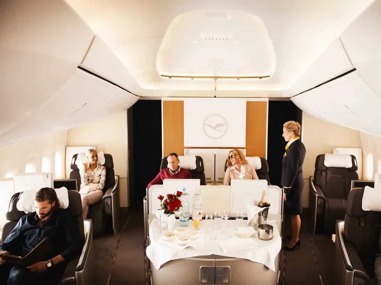 First class on Lufthansa.