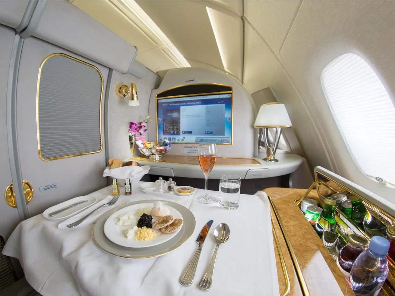 First class on Emirates Airlines.