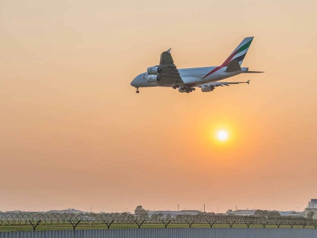 An Emirates Airbus A380 approaching Suvarnabhumi International Airport in Thailand.