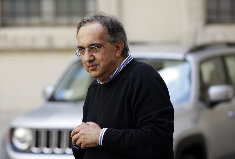 Fiat Chief Executive Sergio Marchionne looks on during a meeting with Italian Prime Minister Matteo Renzi (not pictured) to mark the presentation of new